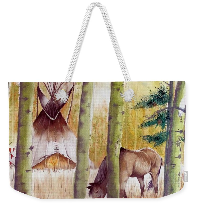 American Weekender Tote Bag featuring the painting Deep Woods Camp by Jimmy Smith