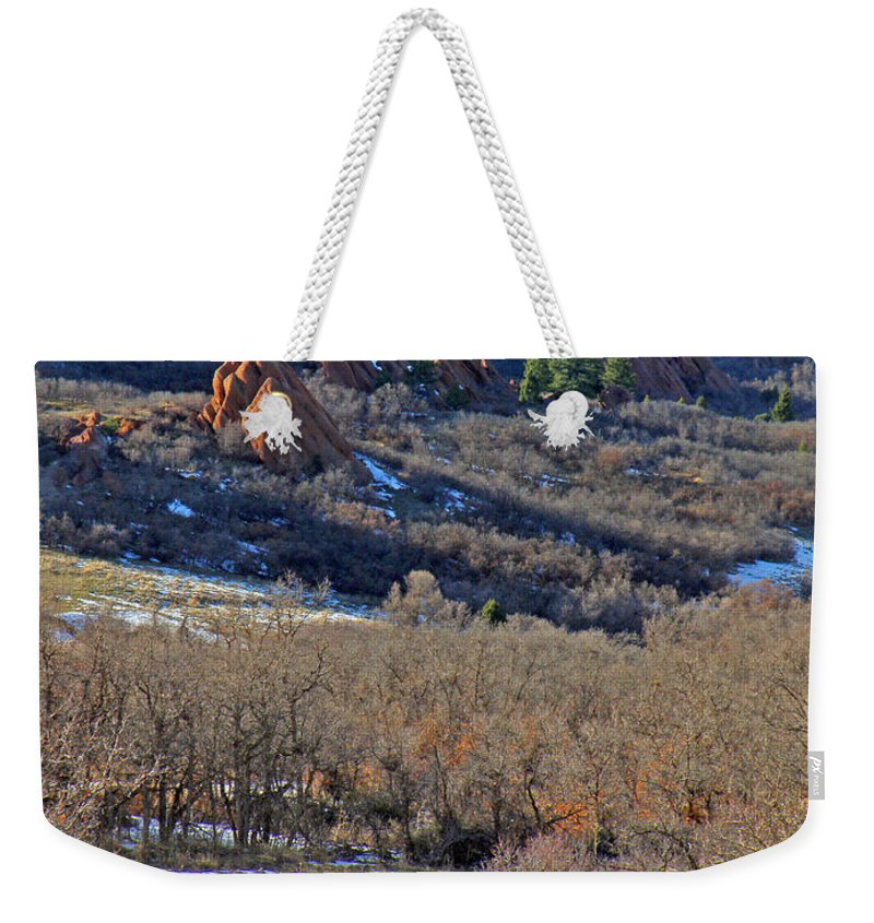 Deer Animals Wildlife Nature Roxborough State Park Colorado Winter Evening Light Rocky Mountains Weekender Tote Bag featuring the photograph Deer At Roxborough by George Tuffy