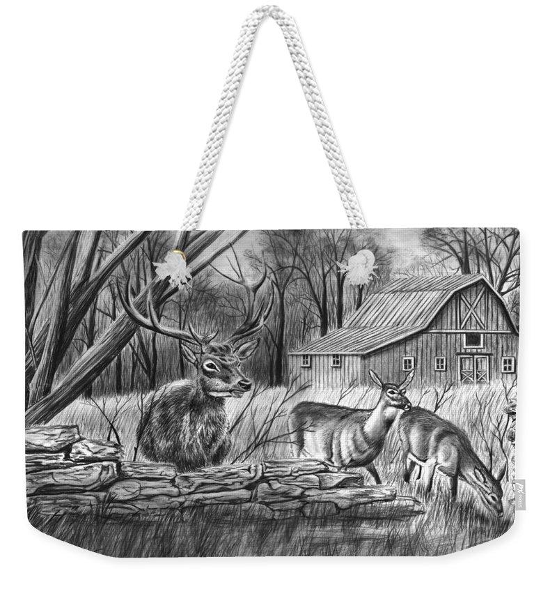 Deer Field Weekender Tote Bag featuring the drawing Deer Field by Peter Piatt