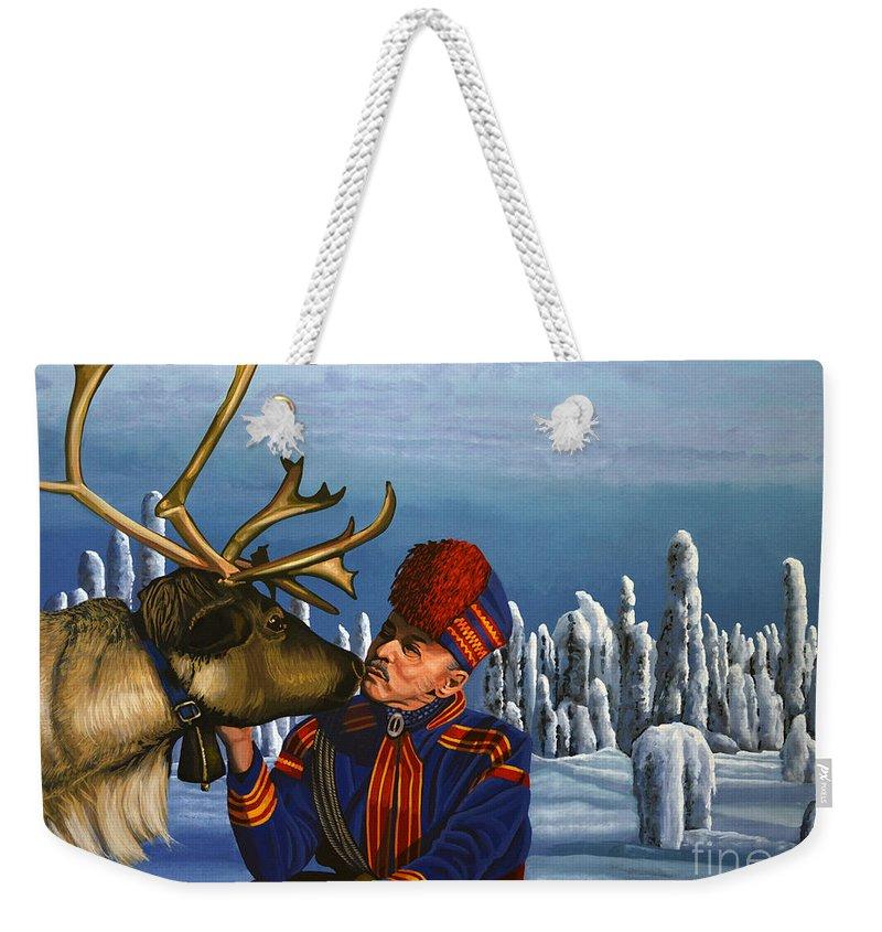 Finland Weekender Tote Bag featuring the painting Deer Friends Of Finland by Paul Meijering
