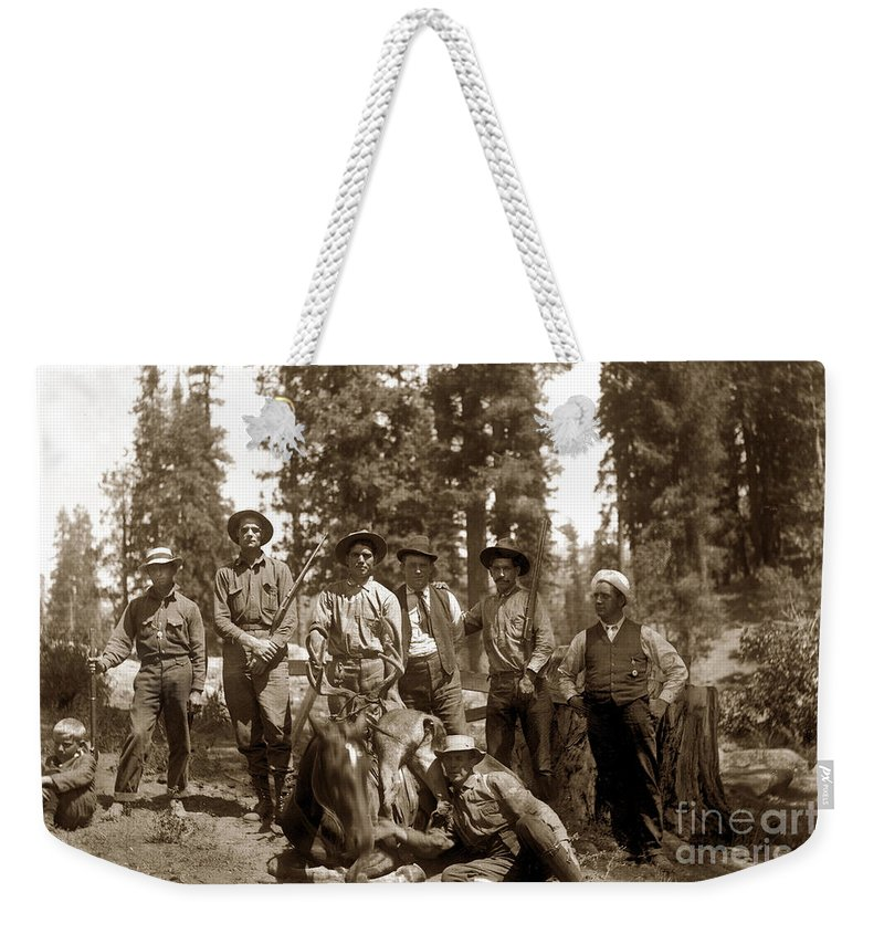 Deer Huters Weekender Tote Bag featuring the photograph Deer Hunters With Rifles Circa 1917 by California Views Archives Mr Pat Hathaway Archives