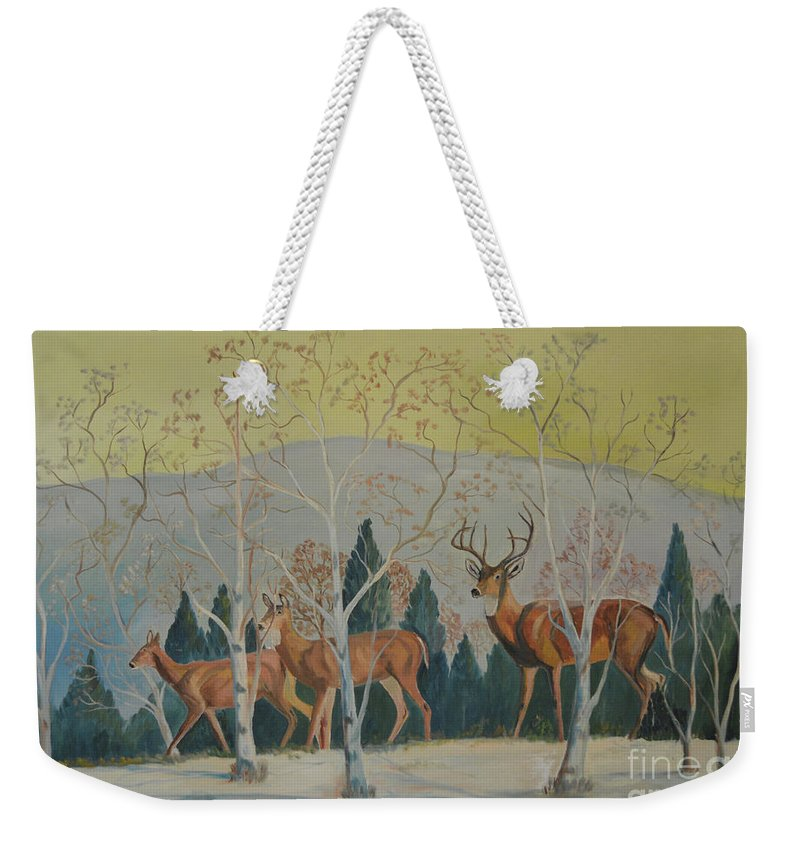 Doris Carroll Weekender Tote Bag featuring the painting Deer In The Snowy Forest by Meandering Photography