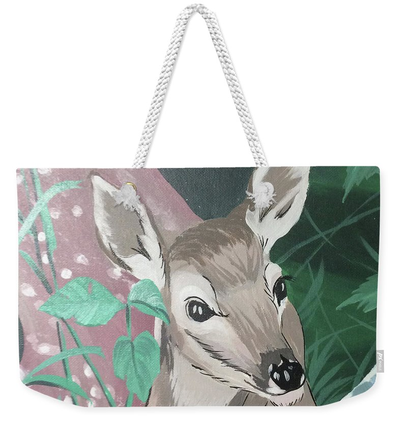 Deer Little Dear Weekender Tote Bag featuring the painting Deer Little Dear by John Catalfamo