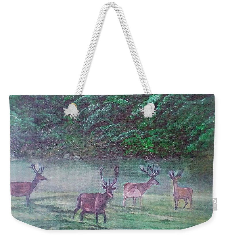 Precious World Deer And Their Nature Environment... Weekender Tote Bag featuring the painting Deer by Zoran Tomich