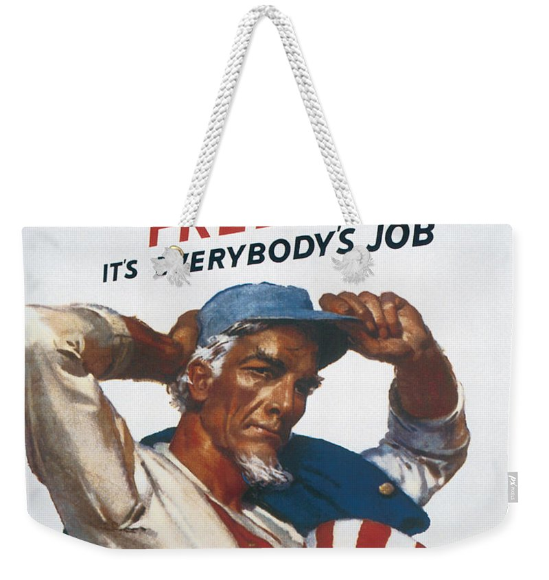 Defend American Freedom It's Everybody's Job Mcclelland Barclay 1942 Weekender Tote Bag featuring the digital art Defend American Freedom by Define Studio