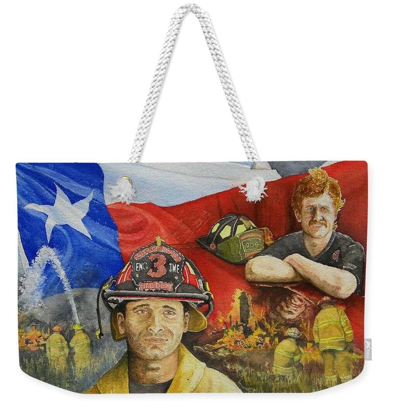 Firemen Weekender Tote Bag featuring the painting Defending Texas by Gale Cochran-Smith
