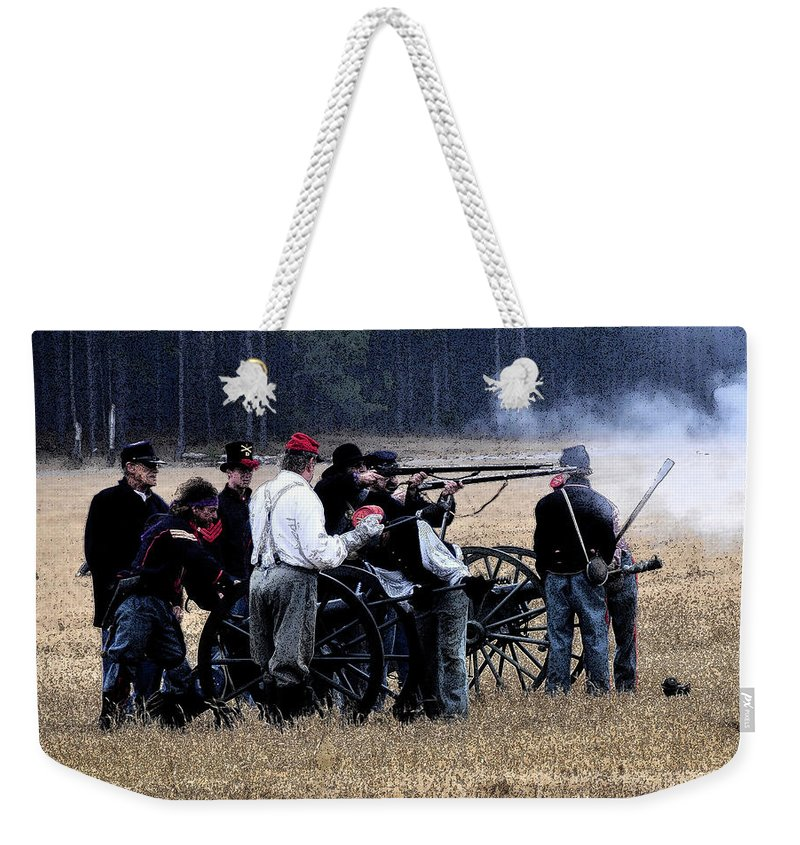 Cannons Weekender Tote Bag featuring the painting Defending The Artillery by David Lee Thompson