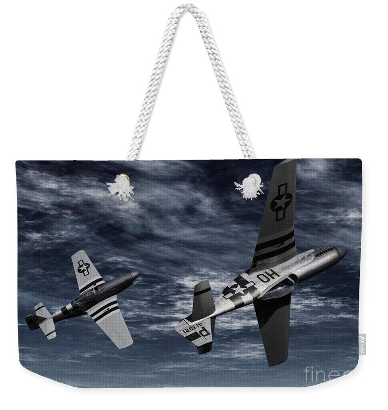 Aircombat Weekender Tote Bag featuring the digital art Defensive Split by Richard Rizzo