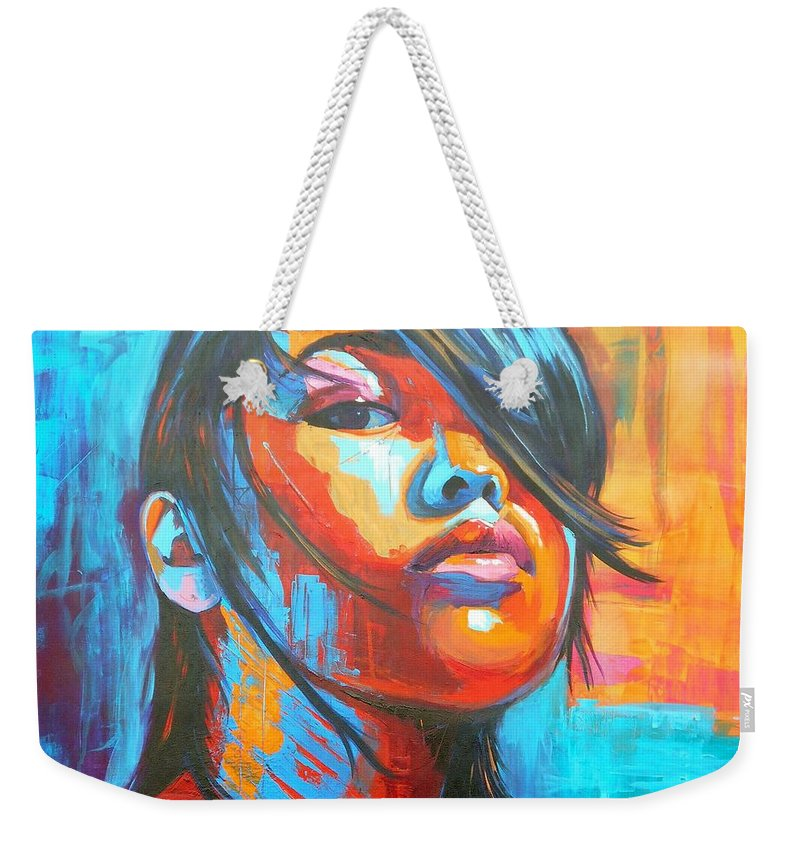 Art Weekender Tote Bag featuring the painting Defiance by Angie Wright