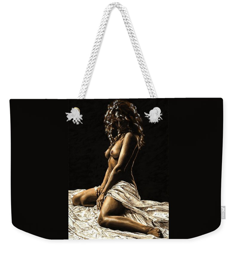 Nude Weekender Tote Bag featuring the painting Defiance by Richard Young
