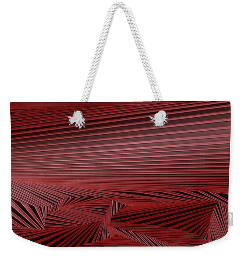 Dynamic Black And White And Red Weekender Tote Bag featuring the digital art Dehsilbatse by Douglas Christian Larsen