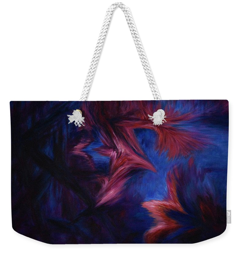 Abstract Weekender Tote Bag featuring the painting Deja Vu by Rachel Christine Nowicki