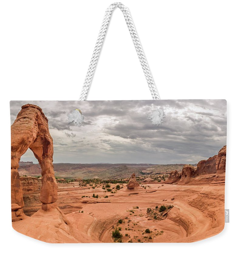 3scape Weekender Tote Bag featuring the photograph Delicate Arch Panoramic by Adam Romanowicz
