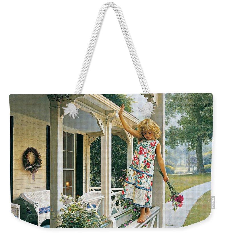 Porch Weekender Tote Bags