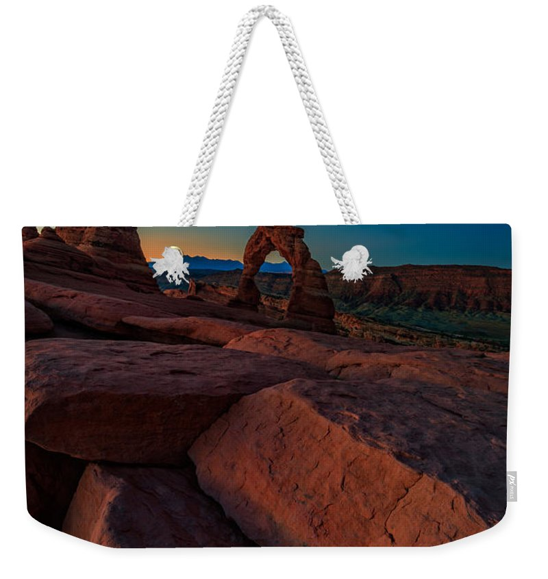 Delicate Arch Weekender Tote Bag featuring the photograph Delicate Dawn by Rick Berk