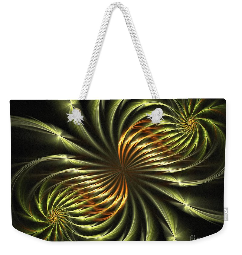 Fractal Weekender Tote Bag featuring the digital art Delicate Grace by Deborah Benoit