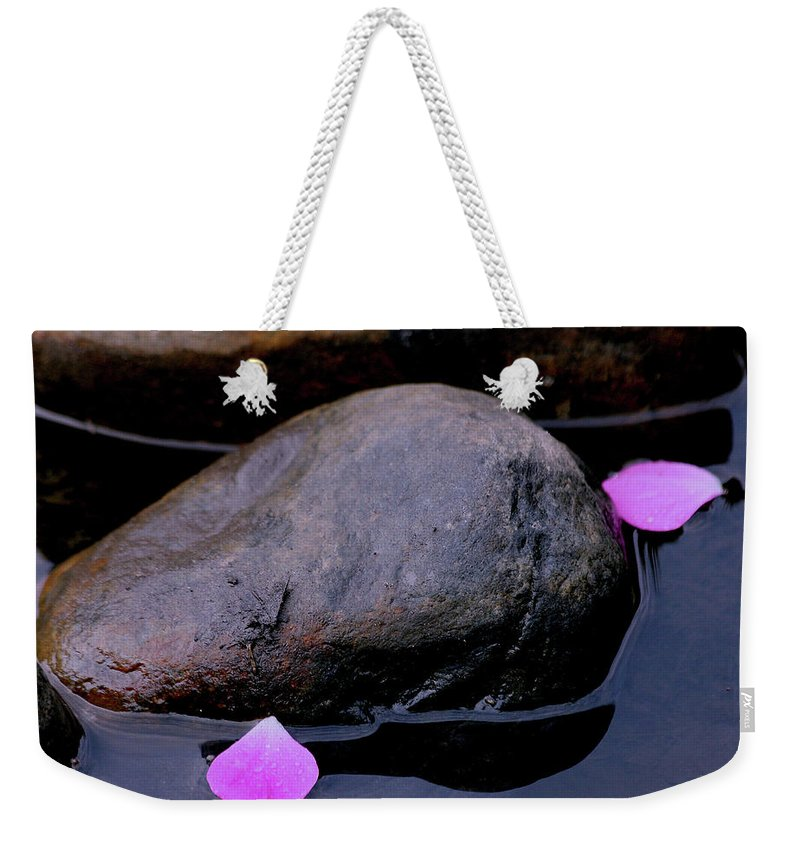 Rock Weekender Tote Bag featuring the photograph Delicate Petals With Rocks by Doris Potter
