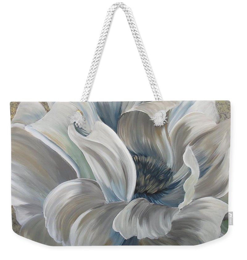 Weekender Tote Bag featuring the painting Delicate Reveal by Amy Chenoweth