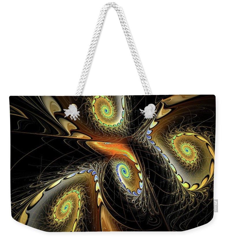 Fractal Weekender Tote Bag featuring the digital art Delicate Spirals Of Lace by Deborah Benoit