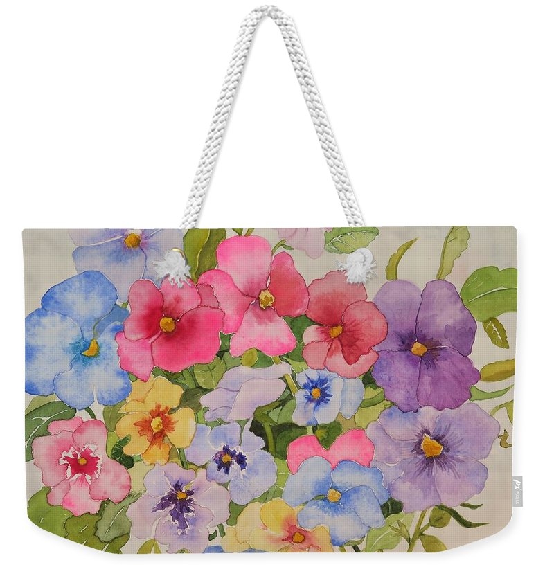 Floral Weekender Tote Bag featuring the painting Delicate Spring Beauties by Mary Ellen Mueller Legault
