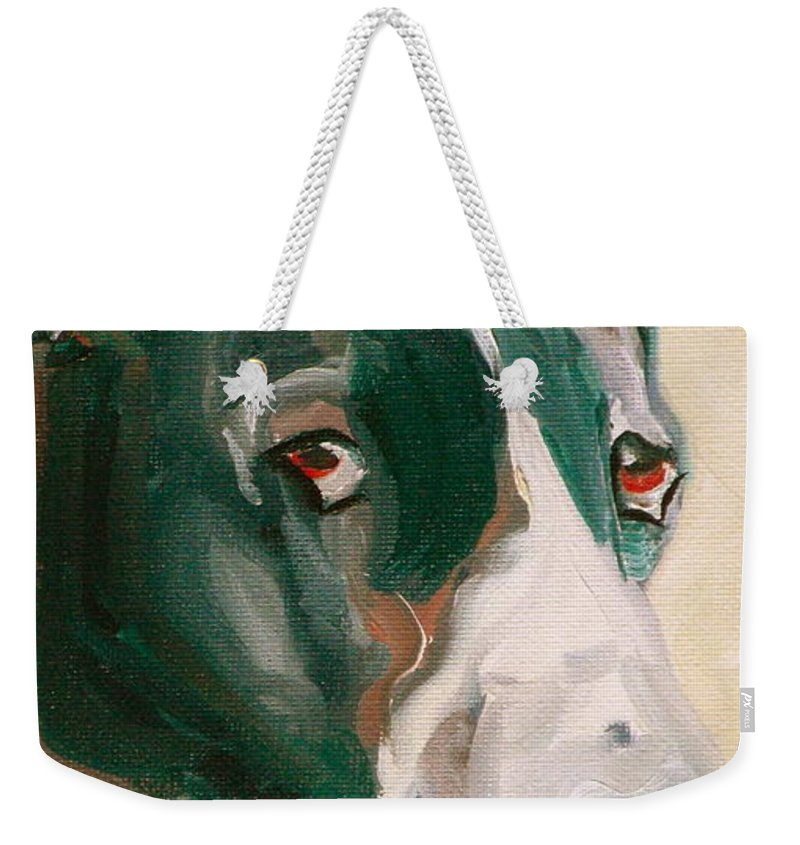Greeting Cards Weekender Tote Bag featuring the painting Delicious Dane by Susan A Becker