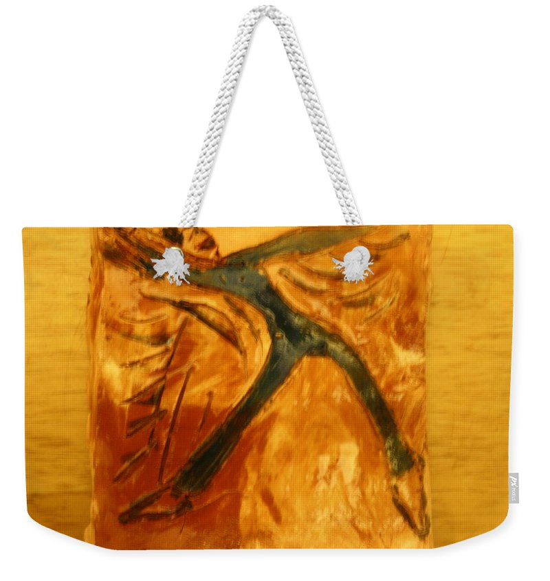 Jesus Weekender Tote Bag featuring the ceramic art Delight - Tile by Gloria Ssali