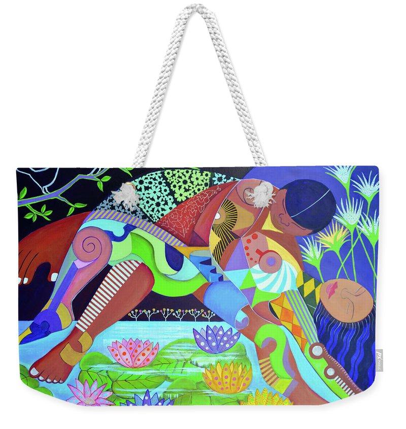 Delirios Weekender Tote Bag featuring the drawing Delirios by Arturo Martinez