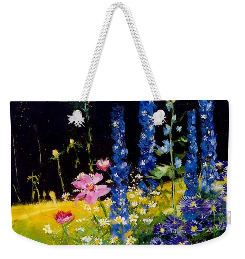 Poppies Weekender Tote Bag featuring the painting Delphiniums by Pol Ledent
