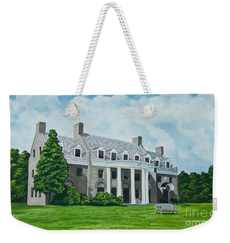 Colgate University History Weekender Tote Bag featuring the painting Delta Upsilon by Charlotte Blanchard
