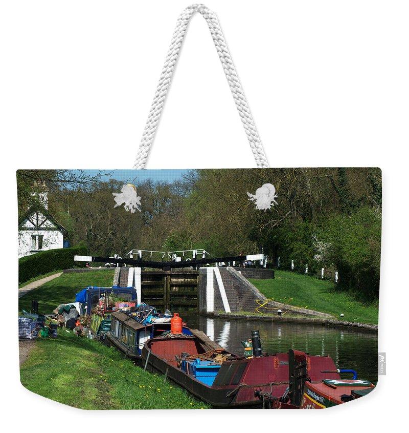 Denham Deep Lock Weekender Tote Bag featuring the photograph Denham Deep Lock by Chris Day