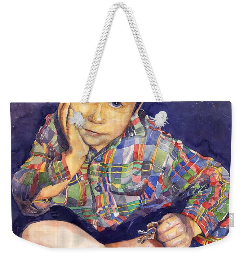 Watercolor Watercolour Portret Figurativ Realism People Commissioned Weekender Tote Bag featuring the painting Denis 01 by Yuriy Shevchuk