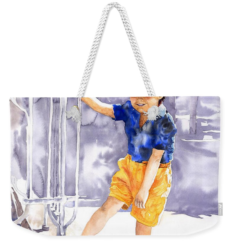 Watercolor Watercolour Figurativ Portret Weekender Tote Bag featuring the painting Denis 02 by Yuriy Shevchuk