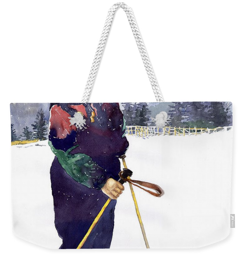 Watercolor Watercolour Figurative Ski Children Portret Realism Weekender Tote Bag featuring the painting Denis 03 by Yuriy Shevchuk
