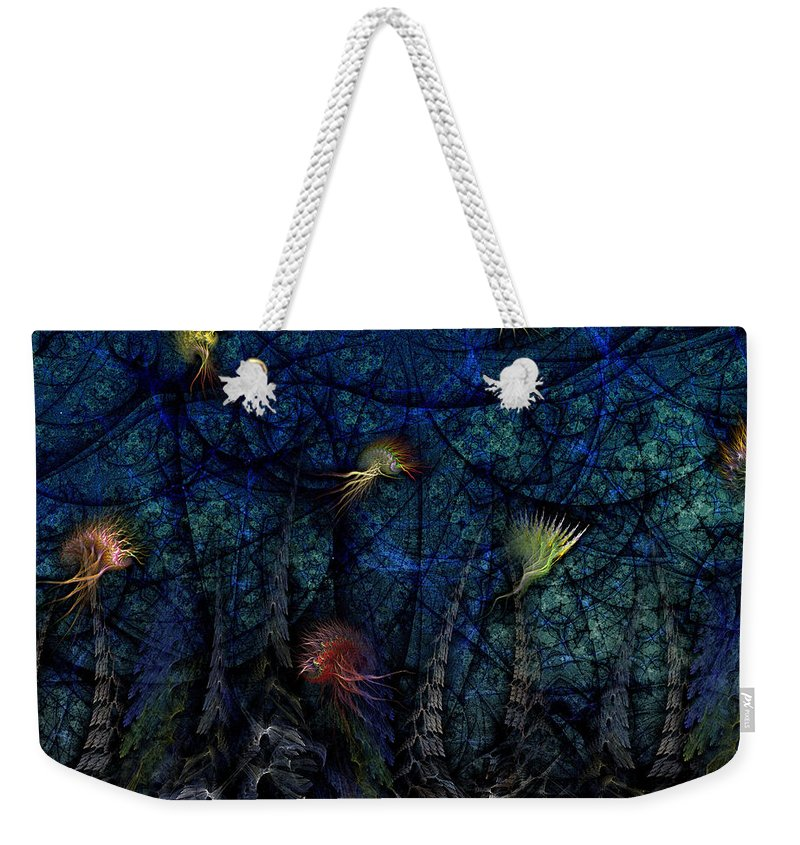Abstract Weekender Tote Bag featuring the digital art Denizens by Casey Kotas