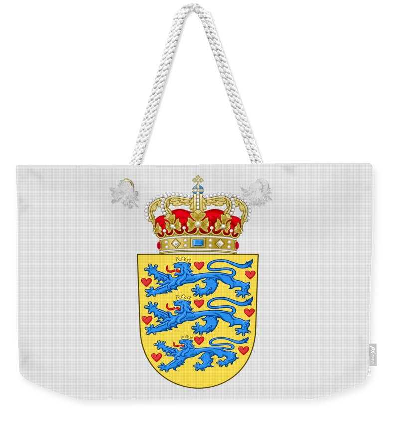 Denmark Weekender Tote Bag featuring the drawing Denmark Coat Of Arms by Movie Poster Prints