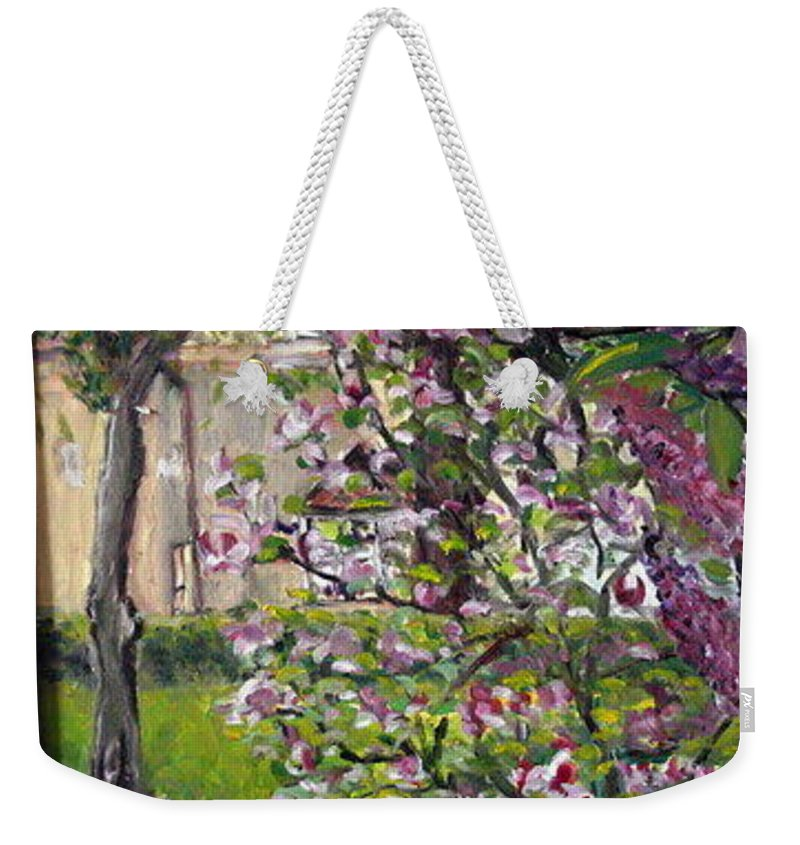 Landscape Weekender Tote Bag featuring the painting Dentist Flowers by Pablo de Choros