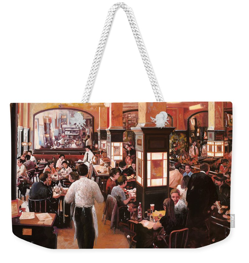 Coffee Shop Weekender Tote Bag featuring the painting Dentro Il Caffe by Guido Borelli