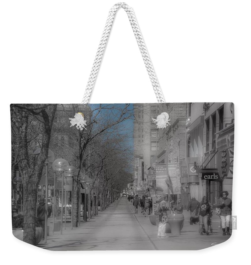 Denver 16th Street Mall Weekender Tote Bag featuring the photograph Denver 16th Street Mall by J Thomas