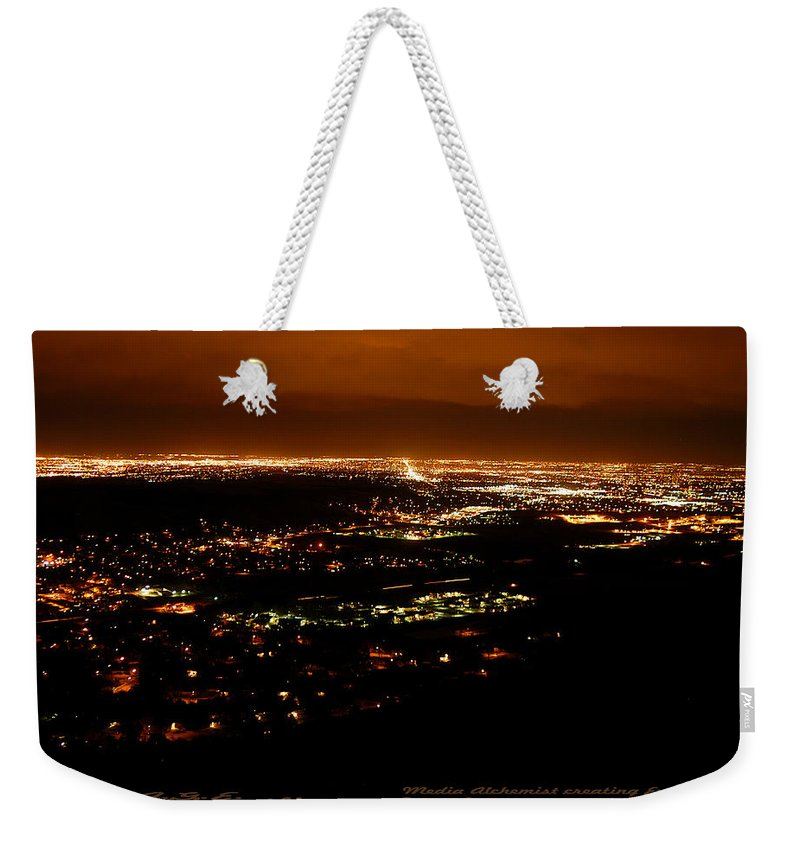Clay Weekender Tote Bag featuring the photograph Denver Area At Night From Lookout Mountain by Clayton Bruster