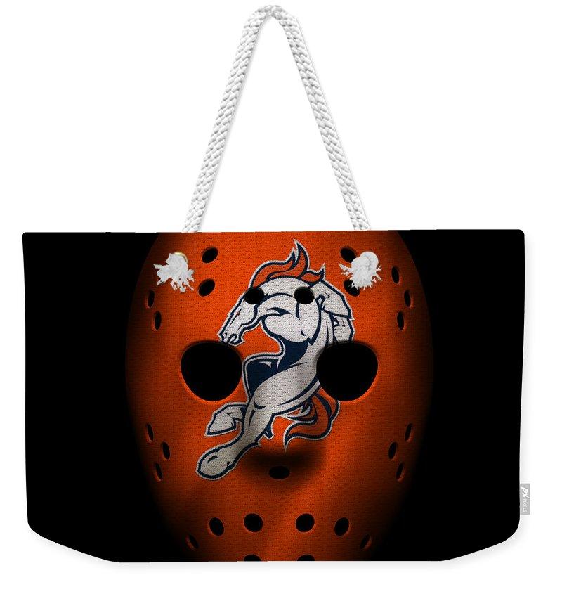 Broncos Weekender Tote Bag featuring the photograph Denver Broncos War Mask 2 by Joe Hamilton