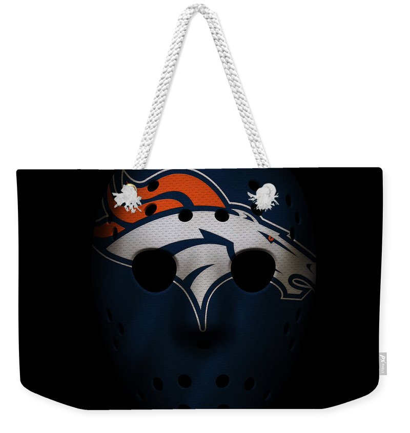 Broncos Weekender Tote Bag featuring the photograph Denver Broncos War Mask by Joe Hamilton