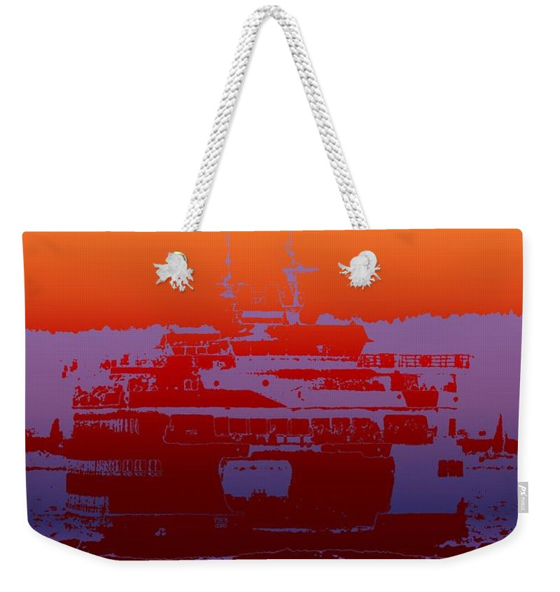 Seattle Weekender Tote Bag featuring the photograph Departing Ferry 2 by Tim Allen