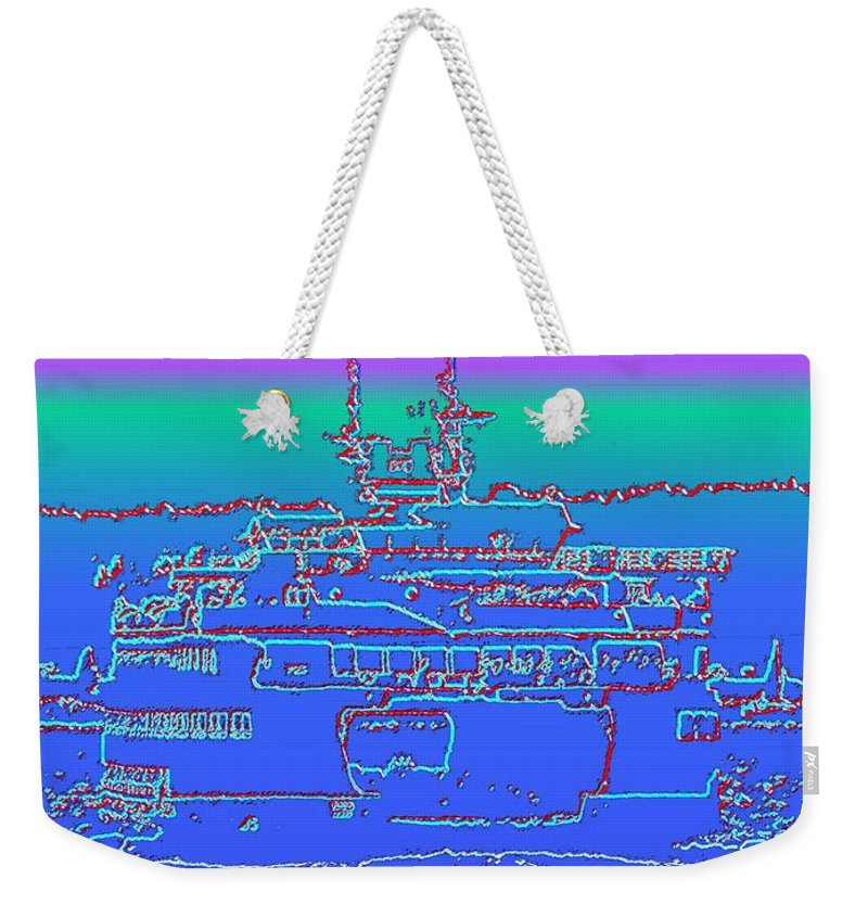 Digital Photo Manipulation Weekender Tote Bag featuring the photograph Departing Ferry by Tim Allen