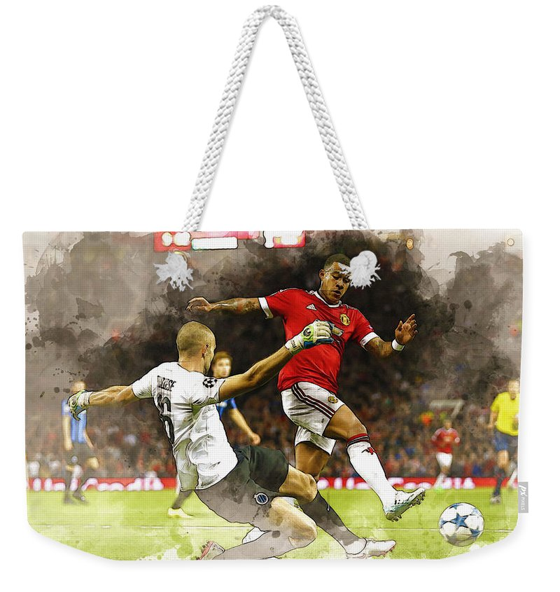 Uefa Chamipons League Weekender Tote Bag featuring the digital art Depay In Action by Don Kuing