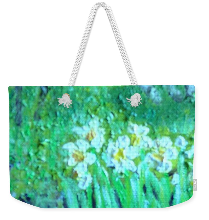 Daffodils Weekender Tote Bag featuring the painting Dependable Daffodils by Laurie Morgan
