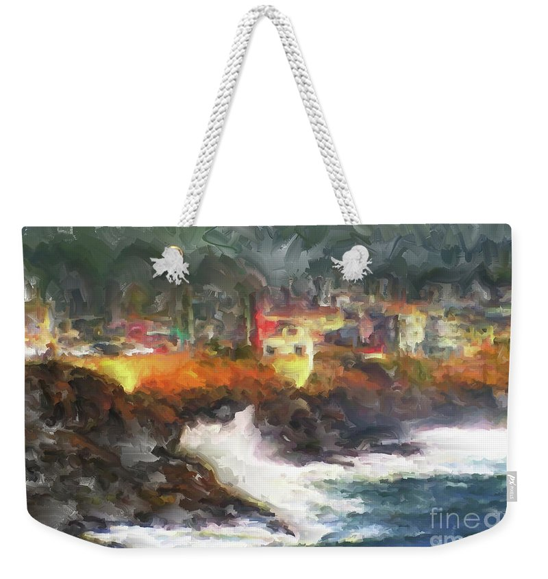 Depoe Bay Oregon Weekender Tote Bag featuring the painting Depoe Bay Oregon by Methune Hively