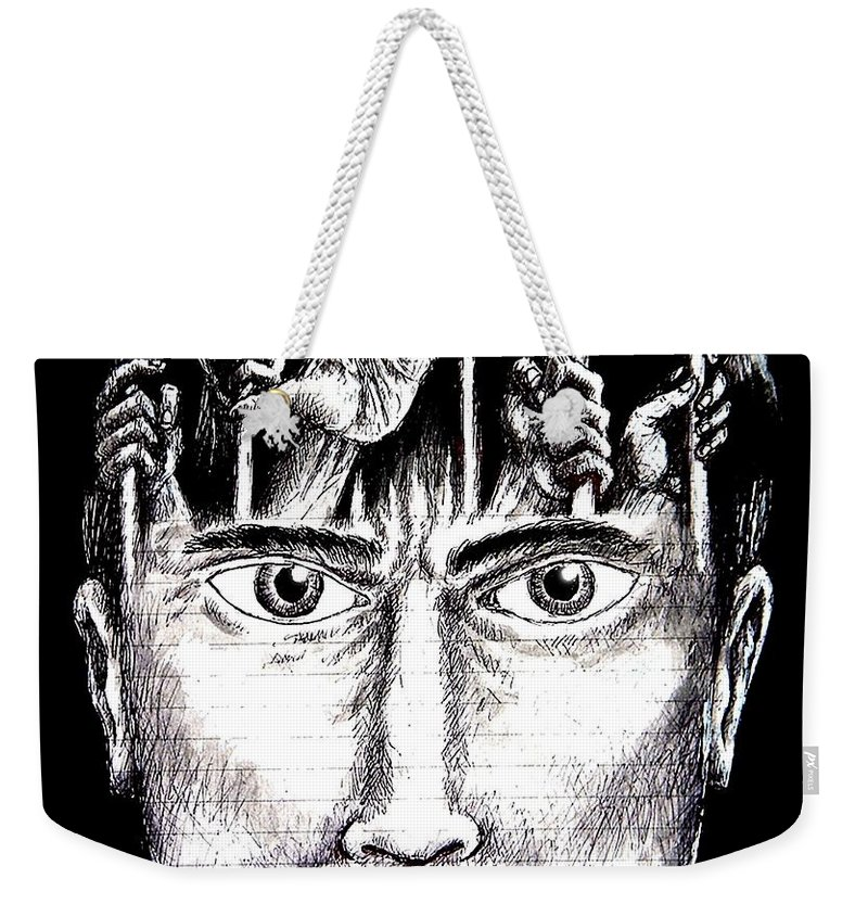 Imprisonment Weekender Tote Bag featuring the mixed media Deprivation Of Freedom Of Expression by Paulo Zerbato
