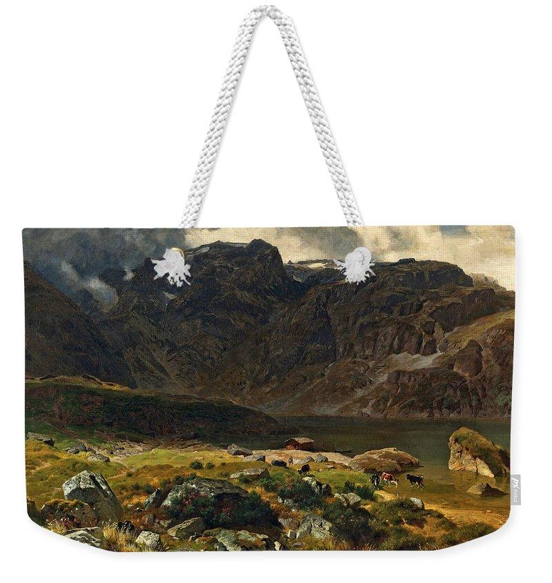 Johann Gottfried Steffan Weekender Tote Bag featuring the painting Der Hintere Murgsee. St. Galler Alpen. 1878 by Johann Gottfried Steffan