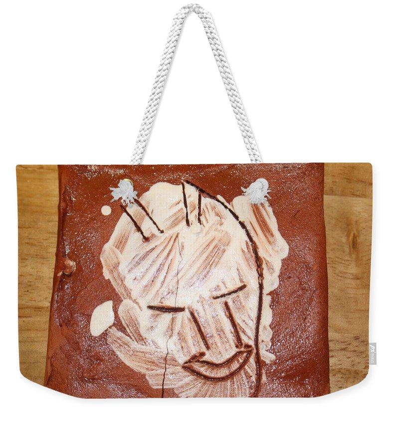 Jesus Weekender Tote Bag featuring the ceramic art Derek - Tile by Gloria Ssali