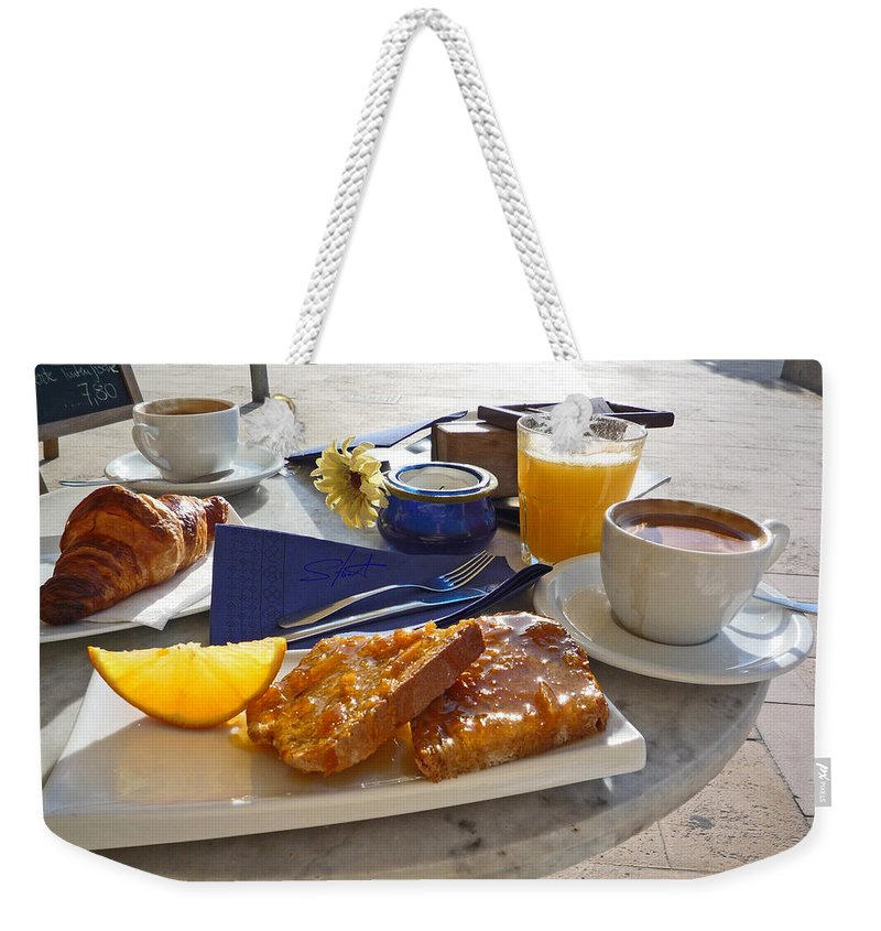 Breakfast Weekender Tote Bag featuring the photograph Desayuno by Charles Stuart